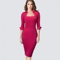 Autumn Professional Women Formal Sheath Bodycon Slim Elegant Work Business Office Lady Dress