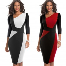 Nice-Forever Vintage Contrast Color Patchwork Wear to Work vestidos Business Party Bodycon Office Elegant Women Dress