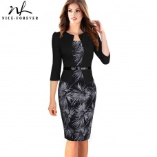 Nice-forever One-piece Faux Jacket Brief Elegant Patterns Work dress Office Bodycon Female 3/4 Or Full Sleeve Sheath Dress