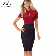 Nice-forever Vintage Contrast Color Patchwork Wear to Work Knot vestidos Bodycon Office Business Sheath Women Dress