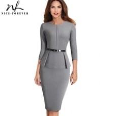 Nice-forever Vintage Elegant Wear to Work with Belt Peplum vestidos Business Party Bodycon Office Career Women Dress