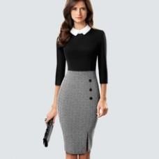 Retro Elegant Formal Suit collar Office Lady Dress Chic Button Side Split Patchwork Bodycon Dress