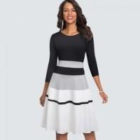 Autumn Fashion O neck Patchwork Elegant Swing A line dress Casual Stripe Slim Party dress