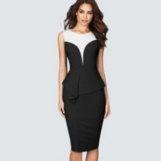 Classic Patchwork Business Charming Slim Dress Sleeveless Ruffle Pencil Dress