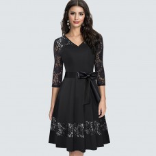 Autumn Retro Sexy Lace Hollow Charming Dress Classic Elegant V neck Party Dress