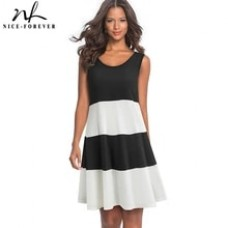 Casual Contrast Color Patchwork Sleeveless Female vestidos Loose Shift Women Dress