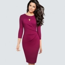 Autumn Round neck Hollow Sexy Party Bodycon dress