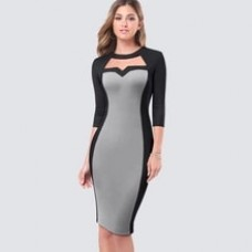 Casual Patchwork Work Office Lady Dress Elegant Sheath Bodycon Sexy Cut Out Business Career Pencil Dress
