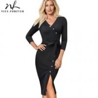 Elegant Vintage Solid Color split Wear to Work with belt vestidos Business Party Bodycon Women Office Dress