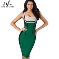 Patchwork spaghetti Strap Fashion dresses Women Summer Optical Illusion Pinup bodycon Club wear Pencil Dress