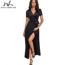 Causal Solid Color Sexy Split vestidos Short Sleeve Party Long Maxi Women Dress