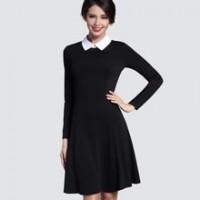 Autumn Winter Women's Elegant Casual A-line Dress Slim Turn- Collar Long Sleeve Work Office Black Dresses