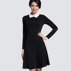 Autumn Winter Women's Elegant Casual A-line Dress Slim Turn- Collar Long Sleeve Work Office Black Dresses