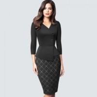 Autumn Elegant Classic Patchwork Grid Bodycon dress Retro Chic Business pencil dress