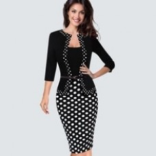 Casual Black And White Dots Patchwork Spring Autumn Dress