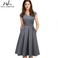 Brief Elegant Solid Color Sleeveless vestidos with Pocket A-Line Women Flare Dress