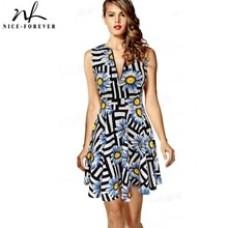 Print Sunflower Summer A-line Novelty Dress