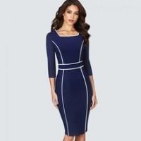 Brief Elegant Square collar wear to work dress Bodycon Midi Pencil Sheath Dress