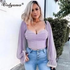 Colysmo Purple Long Puff Sleeve Women Blusas 2020 Spring Vintage Blouse