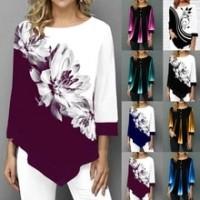 Autumn Women Fashion Round Neck Stitching Shirt Long-sleeved Blouse