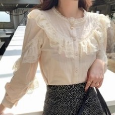 Cotton Linen Blouse Button Solid Stand Collar Ladies Lace Tops