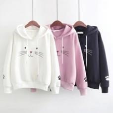 Autumn Fashion Women Top Hoodies Cat Printing Long Sleeve Sweatshirt Female Casual Loose Coat