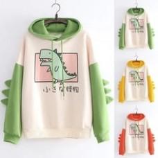 Women Hoodies Fashion Women Casual Print Long Sleeve Splice Dinosaur Sweatshirt Tops Sweatshirts