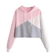 Exquisite Ladies Stitching long-sleeved Hooded Sweatshirt