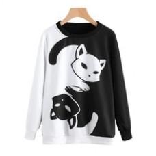 Womens Cat Printing Long Sleeve Sweatshirt Pullover Casual Loose Round Neck Tops Blouse Spring Autumn Kawaii Cute Blusas Hoody