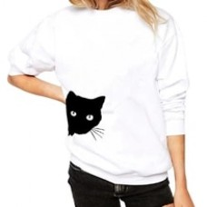Fashion Women Casual Simple Cat Print Loose Sweatshirt Long Sleeve Comfortable Soft Pullover Tops Blouse