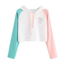 Fashion Women Casual Simple Sweatshirt White Cloud Printing Long Sleeve Solid Color Comfortable Soft Short Tops Blouse