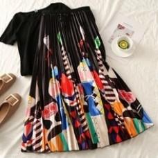 Cartoon Fashion Print Streetwear Mid-Calf Empire Black White Women Sweet Skirts