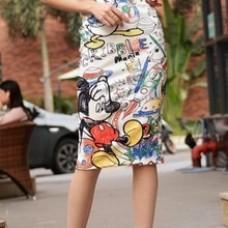 Cartoon Mouse Print High Waist Slim Skirts