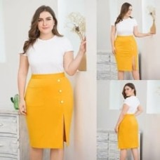 Plus Size Yellow Color Skirts