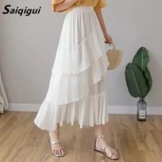 Elegant high waist female casual black white Chiffon A-line cake Pleated Skirt