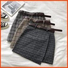 A-line Mini Skirt Vintage Casual Women Plaid Skirt
