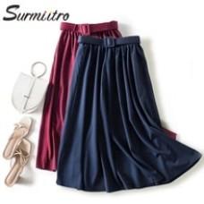 Long High Waist Maxi Skirt With Belt