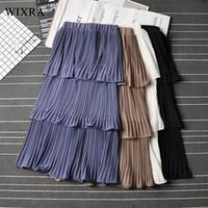 Ruffles Pleated High Waist Solid Sweet Elegant Mid-Calf Skirt
