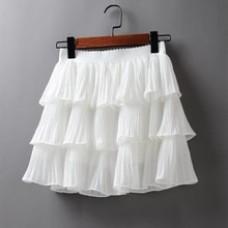 Elasticity Waist Mini Skirt Ladies Chiffon Skirt