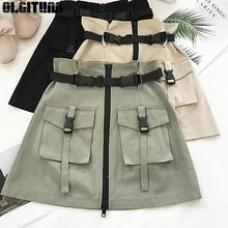 High Waist Gothic Punk Style Pocket Buckle Skirt