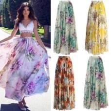 Long floral print beach skirt