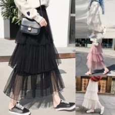 Solid Mesh Fold A-Line Casual Cake Ruffles Pleated skirt