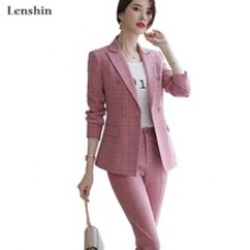 Lenshin High Quality 2 Piece Set Plaid Formal Pant Suit