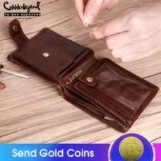 Cobbler Legend Genuine Leather Men Wallets Vintage Trifold Wallet