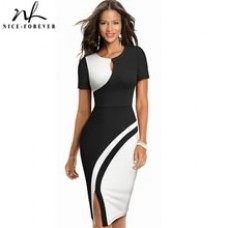 Nice-forever New Spring Elegant Stylish Contrast Color Patchwork Office Work vestidos Business Bodycon Women Dress