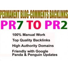 SEO 50 permanent dofollow blog comments backlinks from PR7 to PR3